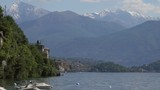 Landscape on Como lake between mountains in Italy, Lombardy, 4k  - 182656613