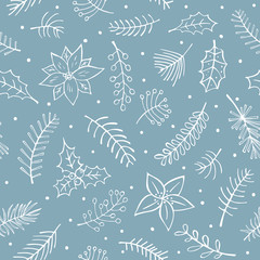 winter outlined hand drawn branches twigs flowers foliage seamless pattern © Vectorovich