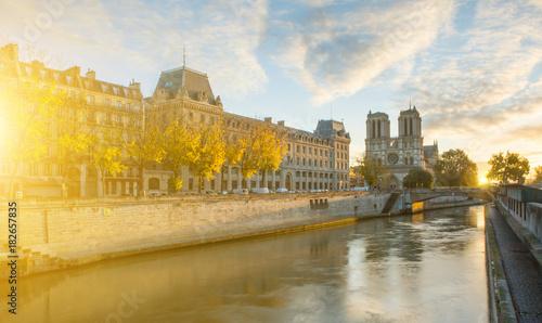Wall mural Notre dame de Paris and Seine river in Paris, France