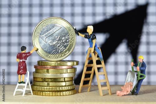 Foto Murales argent euros monnaie echange change interets taux credit banque BCE