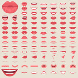 vector illustration of a kiss, red lips isolated, smile male and female mouth,  - 182662631