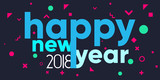 Merry Christmas and Happy New Year 2018 typography background - 182663467