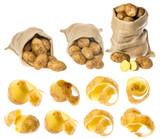 a fresh raw potatoes on a white background - 182663604