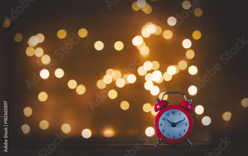 Vintage alarm clock and Fairy Lights