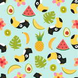 pattern with toucan and tropical fruits - 182666229