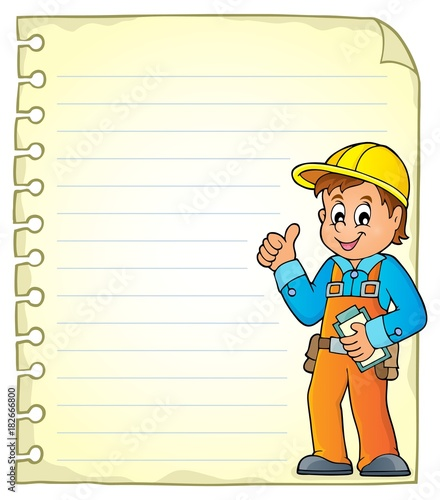 Foto op Canvas Voor kinderen Notepad page with construction worker