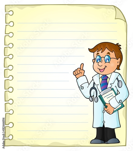 Foto op Canvas Voor kinderen Notepad page with doctor theme 2