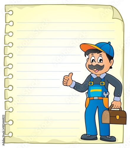 Papiers peints Enfants Notepad page with plumber