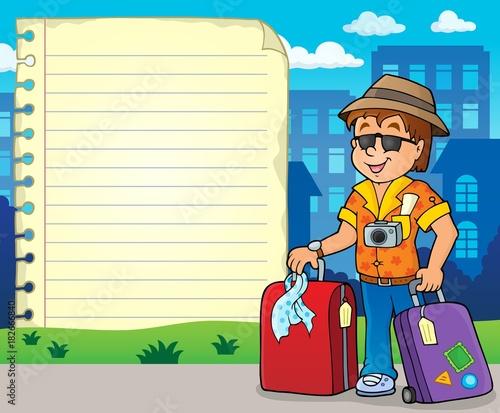 Papiers peints Enfants Notepad page with tourist