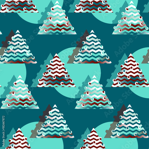 wrapping paper seamless pattern with christmas trees in blue