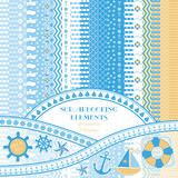 Scrapbooking ideas. Design elements in the nautical style. Seamless patterns and brushes
