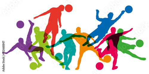 football - foot - footballeur - silhouette - but - ballon - coupe du monde - sportif - affiche - gardien de but