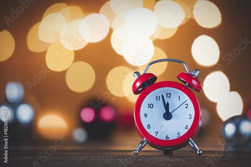 Vintage alarm clock and Christmas Lights