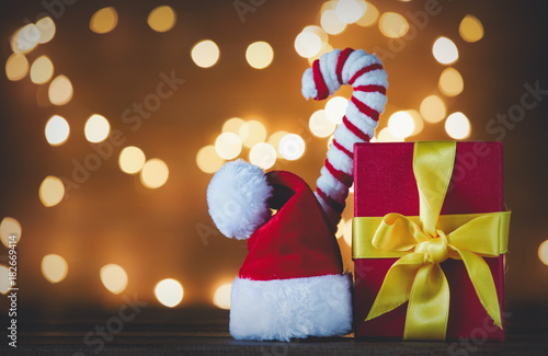 Santa Claus hat with candy cone and Christmas Lights