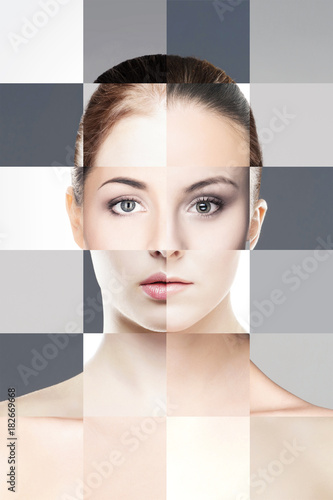 Keuken foto achterwand Spa Perfect female face made of different faces. Plastic surgery and cosmetics concept.