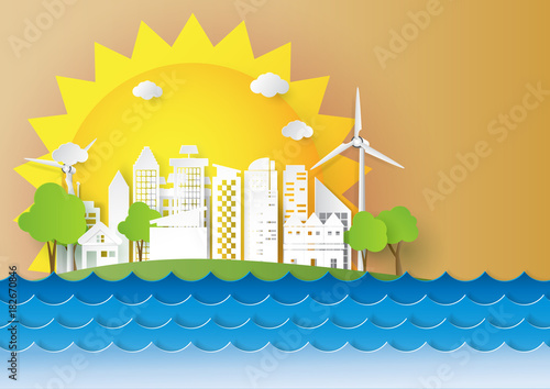 Fototapeta Urban cityscape with ecological and environment conservation.Paper art of summer concept design template.Vector illustration.