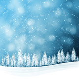 Winter snowfall landscape with snowy trees on the hills. Christmas and New Year holiday greeting card illustration background. - 182671064
