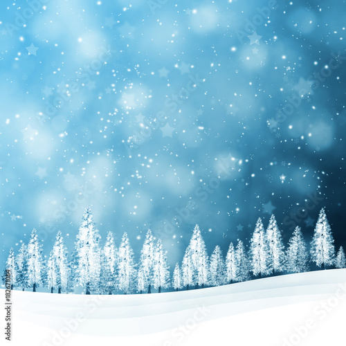 Winter snowfall landscape with snowy trees on the hills. Christmas and New Year holiday greeting card illustration background.