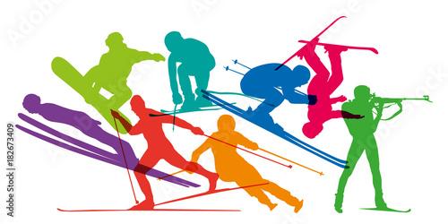 fototapeta na ścianę ski - sports d'hiver - ski alpin - skier - ski de fond - snowboard - skieur - saut à ski - sport - silhouette
