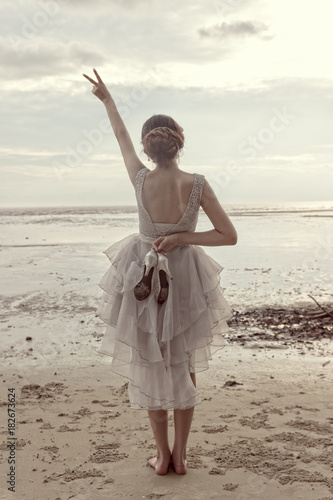 Happy Bride at the beach Poster