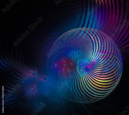Plexiglas Abstractie beautiful fractal blue interrupted stripe ball on black background