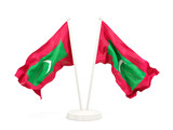 Two waving flags of maldives - 182674815