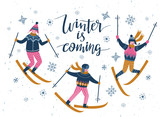 Vector winter  illustration of skiers. Sports children isolated on the white background and lettering - 'winter is coming'. Trendy scandinavian card design. - 182675664