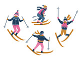 Vector winter  illustration of skiers. Sports children isolated on the white background. Trendy scandinavian design elements. - 182675686
