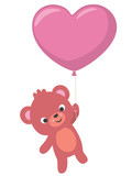 Cute Little Bear Flying with Heart Shaped Balloon Valentines Day Card
