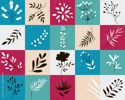icons of plants in colored squares,vector illustration - 182678451