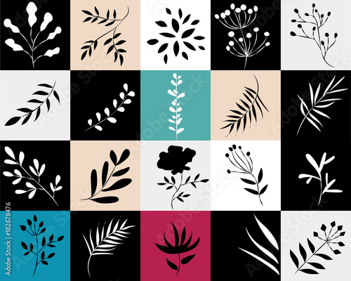 icons of plants in colored squares,vector illustration - 182678476
