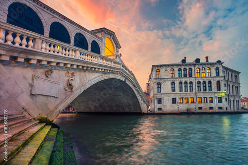 Venice. Cityscape image of Venice with famous Rialto Bridge and Grand Canal.