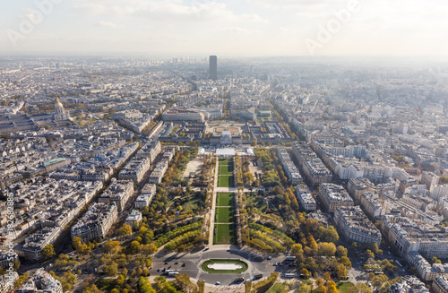 Aerial view on Paris city and Field of Mars Poster