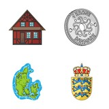 House, residential, style, and other web icon in cartoon style. Country, Denmark, sea, icons in set collection. - 182686073