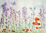 Lavender field with poppies and butterflies. The dabbing technique near the edges gives a soft focus effect due to the altered surface roughness of the paper. - 182690240