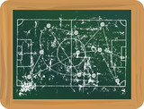 Grungy Soccer stratetgy scribble on black board,vector - 182690891