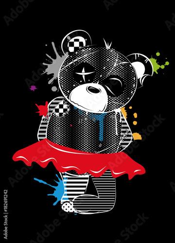 In de dag Graffiti Ein sehr alter Teddybär mit Tutu im Graffiti Stil. Weiße Zeichnung auf schwarzem Grund