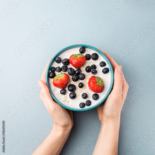 Anonymous person serving healthy breakfast