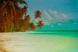 tropical sand beach with palm trees - 182692882