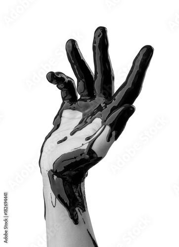 Fotobehang Abstractie female hand in black oil