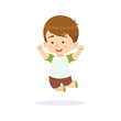 Funny cartoon character. Little boy jumping with white background - 182694805