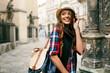 Quadro Beautiful Happy Woman Walking On Street Portrait.
