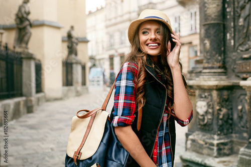 Beautiful Happy Woman Walking On Street Portrait. - 182695664