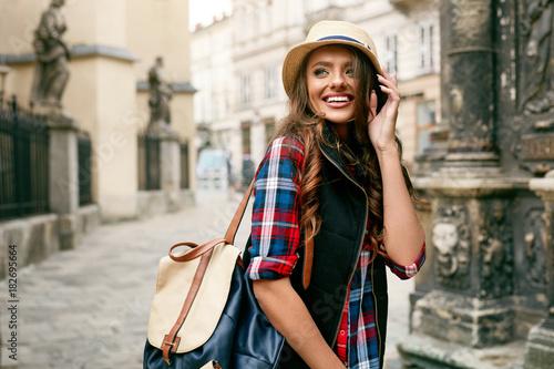 Fototapeta Beautiful Happy Woman Walking On Street Portrait.