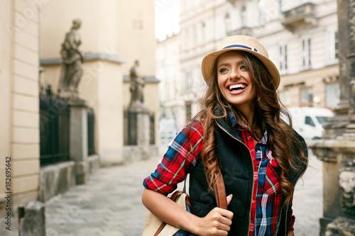 Plakát Beautiful Happy Woman Walking On Street Portrait.