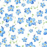 Seamless pattern with blue flowers Forget-Me-Not, Watercolor floral background