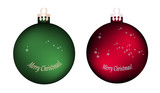 Set of two large red and green Christmas tree balls/Two variants of colorful Christmas tree toy and the inscription