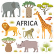 Vector illustration of African animals and plants: lion, baboon, elephant, giraffe, rhino, trees and grass, isolated on light background.