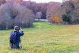 Photographer take pictures  of beech forest near town Olot in Spain, La Fageda - 182700805