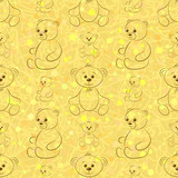 Cartoon Teddy Bears, Seamless Pattern, Outline Pictograms, Contours on Tile Brown and Yellow Background. Vector